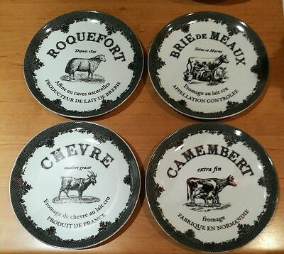 Marks and Spencer M&S Set of 4 Cheese Plates - NEW IN BOX Camembert Brie etc