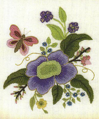 Elizabethan Tile 2- a crewel embroidery kit for beginners