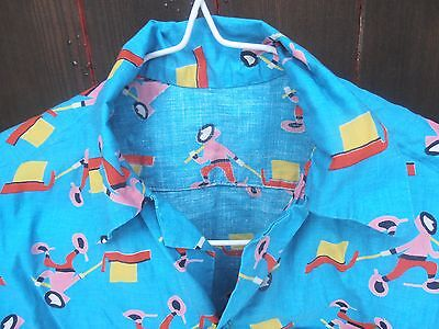 Retro sewing fabric, blue, boy /sledge pattern, homemade shortsleeve shirt, 34""