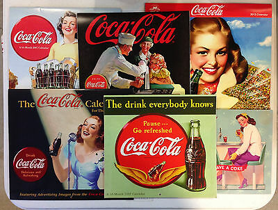 Lot of 6 Coca Cola Collectible Calendars 2002, 2005, 2006, 2007 and 2012