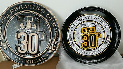 NEW Bells Brewing tin tacker sign AND metal beer tray 30th Anniversary