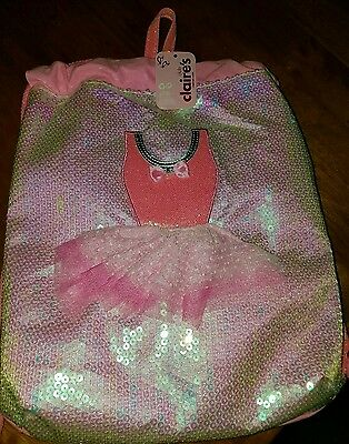 New, Ballerina Drawstring Bag, Pink with Sequins