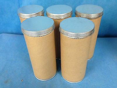"Cardboard Aluminum Screw Top Canisters 3"" Diameter, 7.5"" Height Lot of 5"