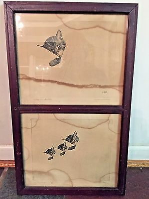 Vintage Chessie The Cat Kitten C & O Railroad Train Framed Pictures