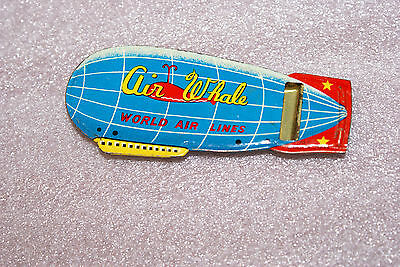 Vintage 1950's Airwhale Zeppelin World Lines Tin Lithograph Whistle Japan