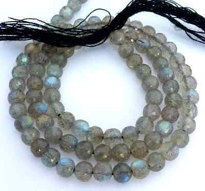 Labradorite Blue Flashy Faceted Round 4mm Beads Natural Stone bead 13inch Strand
