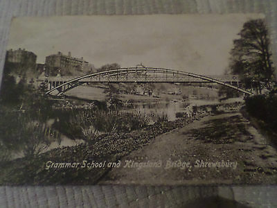 Old Postcard Grammar School & Kingsland Bridge Shrewsbury Shropshire