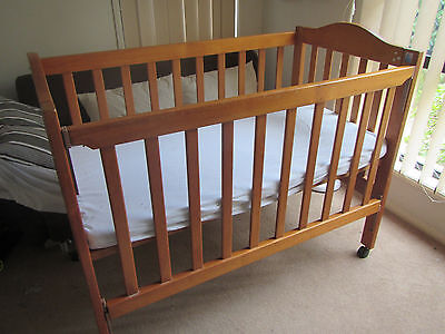 Endeavour Timber Wooden baby Cot with sliding side + Foam Mattress Pick Up 4115