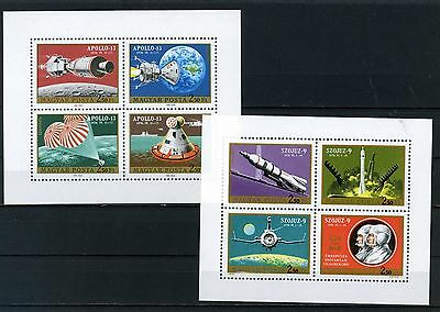 HUNGARY 1970 Sc#C308-C309 SPACE RESEARCH 2 SHEETS OF 4 STAMPS MNH