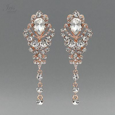ROSE GOLD Plated Clear Crystal Rhinestone Wedding Drop Dangle Earrings 02110 New