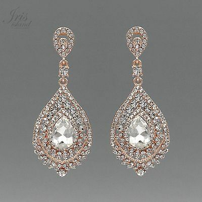 ROSE GOLD Plated Clear Crystal Rhinestone Wedding Drop Dangle Earrings 2130 Prom