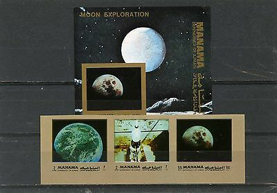 Manama 1972 Space Moon Exploration Set Of 3 Stamps & S/s Imperf. Mnh