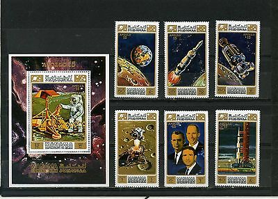 MANAMA 1971 Mi#578-582A,Bl.117A SPACE APOLLO 15 SET OF 6 STAMPS & S/S PERF. MNH