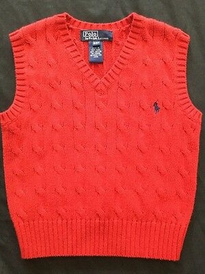 Boys Size 3 Red Cable Knit Sweater Vest Polo Ralph Lauren