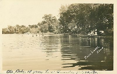 A View of People Bathing & Boating, Twin Lakes IA RPPC 1910