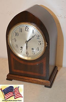 Seth Thomas Wye-1924 Fine Gothic Antique Cabinet Clock In Mahogany  With Inlays