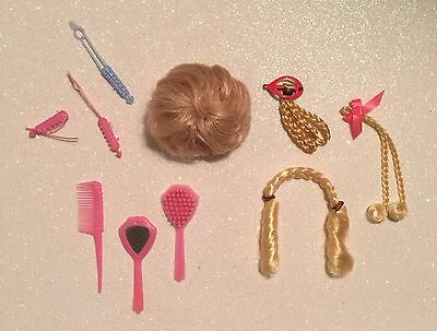 Vintage 1960's Wig**MOD ERA** Hair Pieces*Curlers*Brush*Comb*Mirror for Barbie