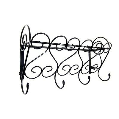 Wrought Iron Coat Rack With Glass Shelf, Wall Mounted, Handmade