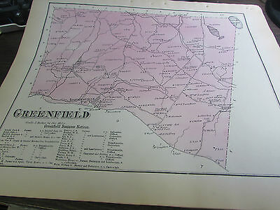 Original 1873 Greenfield Pa Map - Plus Business Notices - Excellent