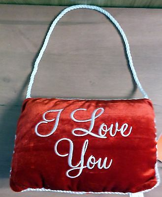 """NWT Dan Dee Rosy Red """"I Love You"""" Velvet Pillow with White Silky Rope 8.75""""W"""
