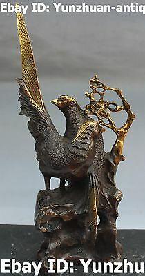 Chinese Fengshui Bronze Gilt Decorate Plum Blossom Tree Magpie Bird Statue