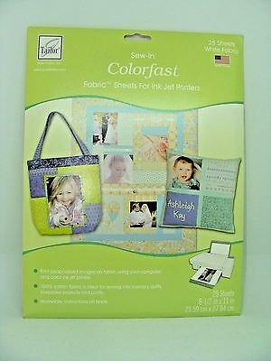 June Tailor Sew-In Colorfast Fabric Sheets for Inkjet Printers 25 sheets