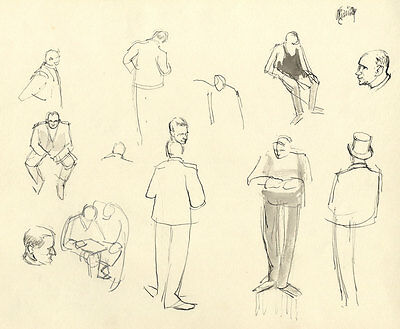 Frances Watt - Mid 20th Century Pen and Ink Drawing, Traders