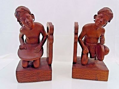 Wonderful Vintage Large Pair Bookends Hand Carved Wood African Art Fine Quality