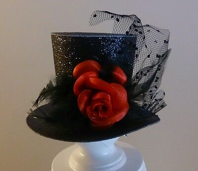 Clip On Top Hat Adult Teen Gothic Victorian Vampire Halloween Costume Accessory