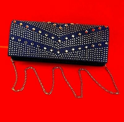 Fancy Women Wallet Or Haversack Blue With Rhinestone Design To Keep Valuable