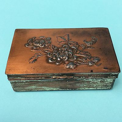 VINTAGE JAPANESE TRINKET CIGARETTE BOX Chrysanthemum Butterfly Old Lining Metal