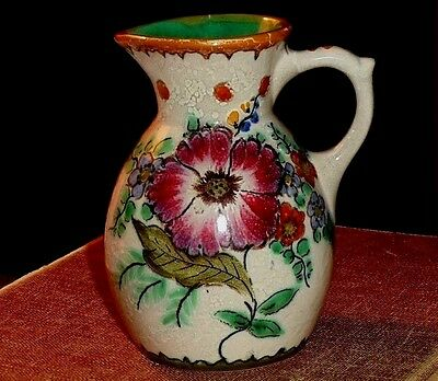 """Vintage Gouda Zuid-Holland Pitcher """"areo Royal"""" - #3345 - 5"""" Tall - Flowers"""
