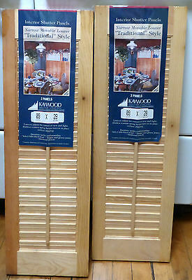 "2 Pair Original New 2 panel Wood Pine Window Louver Shutters 9"" x 28""  panels"