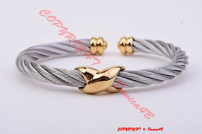CHARRIOL Stainless Steel Gold Tone Bangle Bracelet