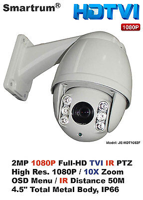 Mini 2MP HD-TVI Outdoor IR Night Vision PTZ Speed Dome/1080P/10X Optical Zoom