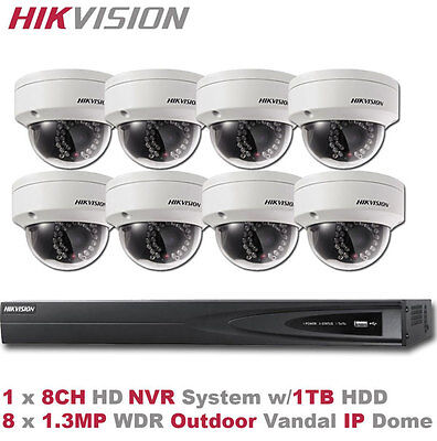 HD IP Camera Package -8CH HIKvision NVR +8 x 1.3MP Outdoor WDR Vandal IR IP Dome