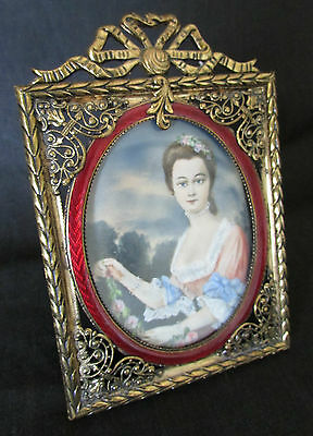 Beautiful Antique Hand Painted Portrait Miniature With Red Frame