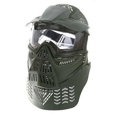 Skirmish Mask & Crystal Goggles w Neck Protection For Paintball Army Green
