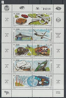 XG-Z058 VENEZUELA - Transportation, 1987 Cars, Aviation, Space MNH Sheet