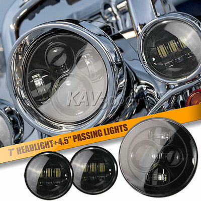 """7"""" Black LED Projector Daymaker Headlight + Passing Lights Fits Harley Touring"""