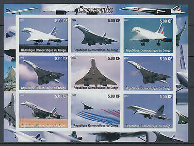 XG-Z223 CONGO BRAZZAVILLE - Concorde, 2002 Aviation, 9 Values Imperf. MNH Sheet