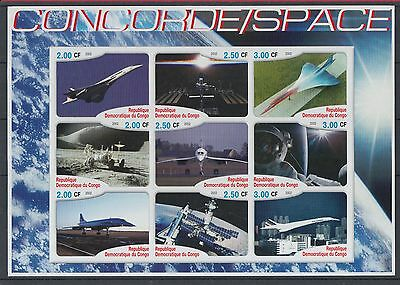 XG-Z229 CONGO BRAZZAVILLE - Concorde, 2002 Space, Aviation Imperf. MNH Sheet