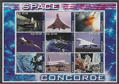 XG-Z230 ANGOLA IND - Concorde, 2002 Space, Aviation MNH Sheet