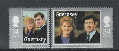 XG-O803 GUERNSEY - Royalty, 1986 23 July Royal Wedding Andrew And Sarah MNH Set