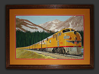 Early Union Pacific RR - Original Painting - Streamliner Through the Rockies