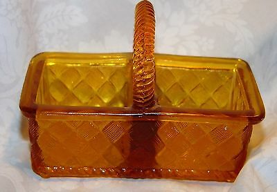 Basket Weave S & P Shaker Holder Amber Glass Imperial Only