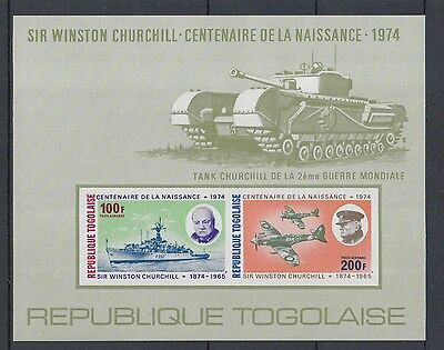XG-P048 TOGO IND - Churchill, 1974 Death Cent Ships Aviation Army Imp. MNH Sheet