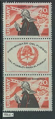 XG-Z605 URUGUAY - Set, 1966 Fire Fighters, Strip MNH