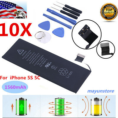 10X 1560mAh Li-ion Internal Battery Replacement + FREE TOOLS for iPhone 5S 5C