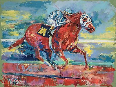 70% Sale Secretariat 24 X 18 Canvas & 3 Free Prints Signed By Painter Winford